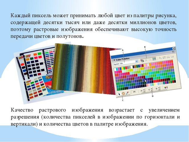 Каждый пиксель может принимать любой цвет из палитры рисунка, содержащей деся...
