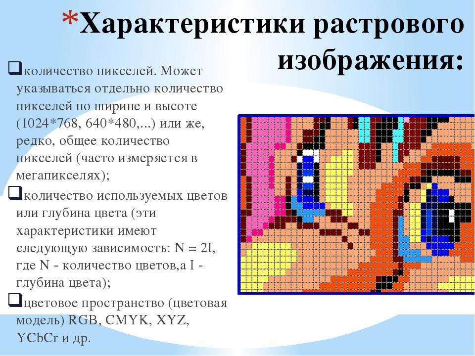Характеристики растрового изображения: количество пикселей. Может указываться...