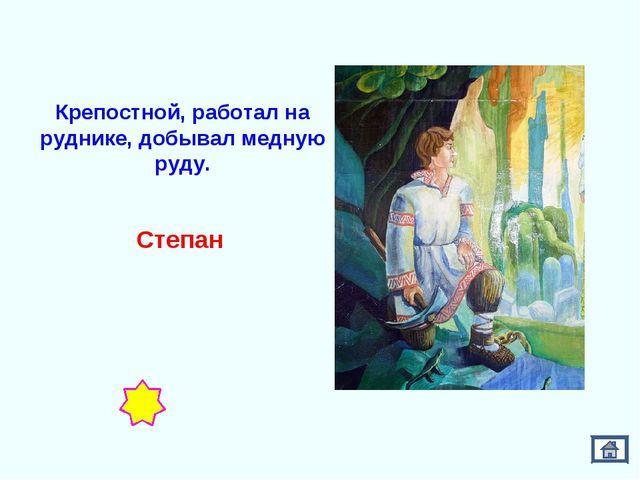 Крепостной, работал на руднике, добывал медную руду. Степан