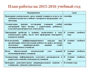 План работы на 2015-2016 учебный год