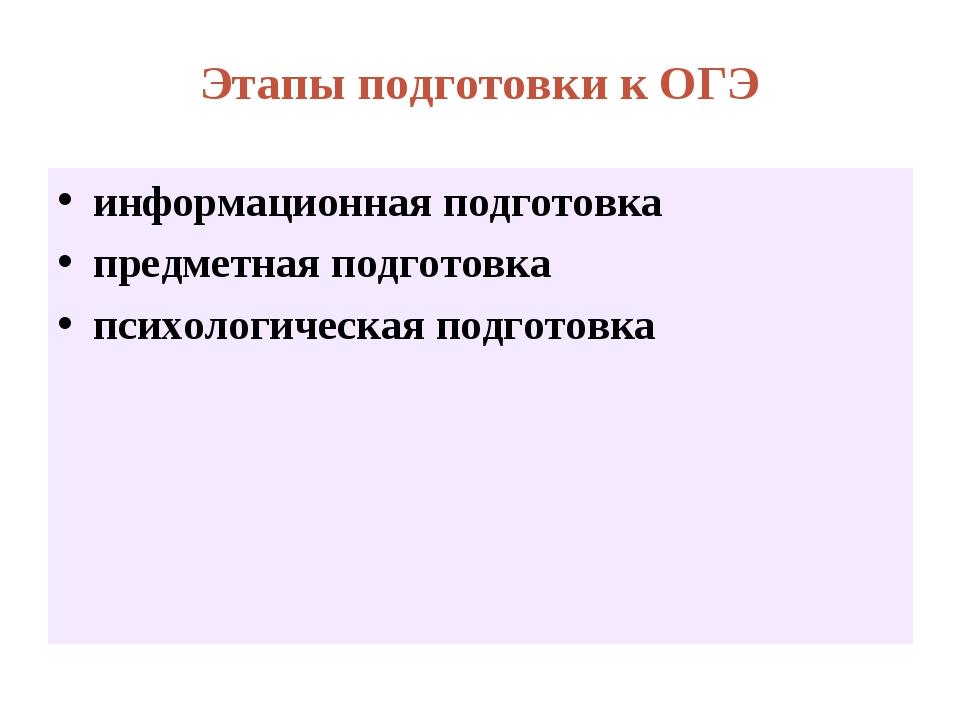 Этапы подготовки к ОГЭ информационная подготовка предметная подготовка психол...