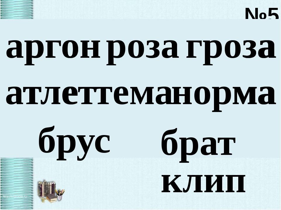 №5 аргон гроза роза р о з а атлет норма тема т е м а брус брат клип