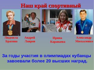 Наш край спортивный Людмила Брагина Андрей Лавров Ирина Караваева Александр М