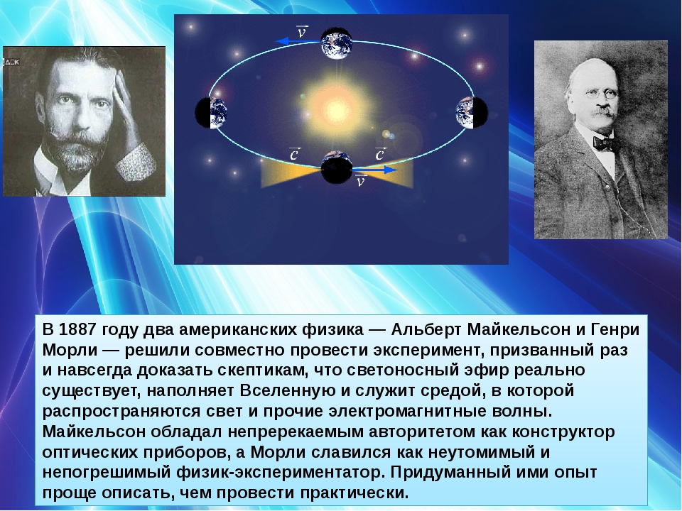 В 1887году два американских физика— Альберт Майкельсон и Генри Морли— реши...