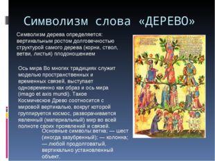 Символизм слова «ДЕРЕВО» Символизм дерева определяется: вертикальным ростом д