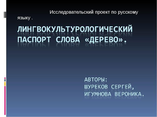 Исследовательский проект по русскому языку .