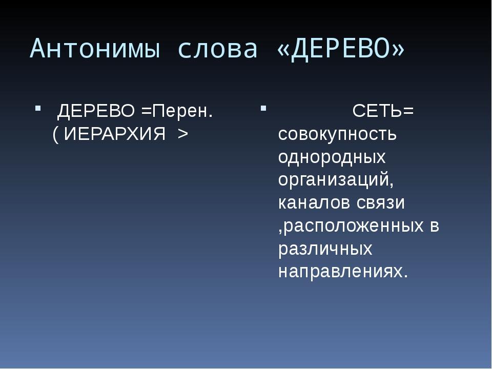 Антонимы слова «ДЕРЕВО» ДЕРЕВО =Перен. ( ИЕРАРХИЯ > СЕТЬ= совокупность одноро...