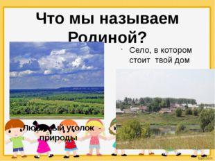 Что мы называем Родиной? Село, в котором стоит твой дом Любимый уголок природы