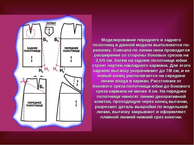 Моделирование переднего и заднего полотнищ в данной модели выполняется по-раз...