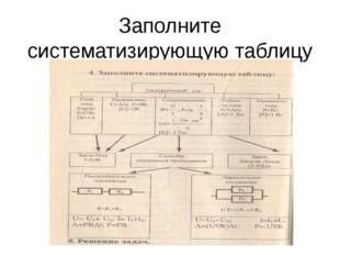 Заполните систематизирующую таблицу