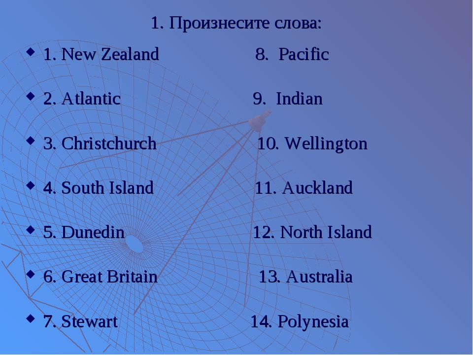 1. Произнесите слова: 1. New Zealand 8. Pacific 2. Atlantic 9. Indian 3. Chri...