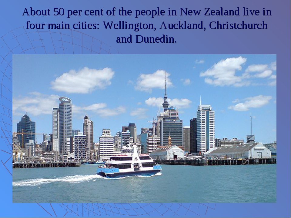 About 50 per cent of the people in New Zealand live in four main cities: Well...