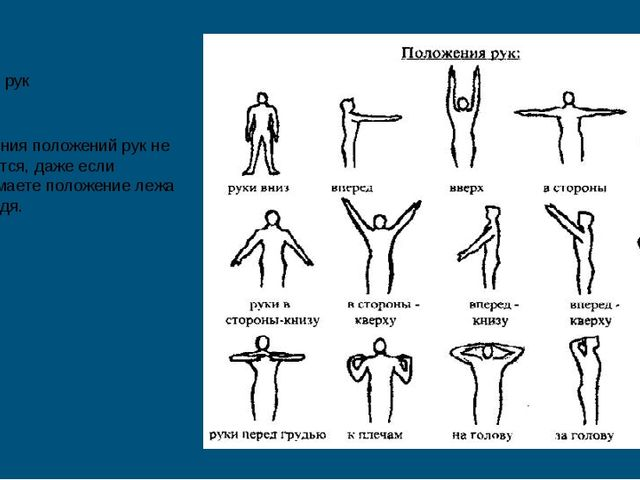 Положения рук Названия положений рук не меняются, даже если принимаете положе...
