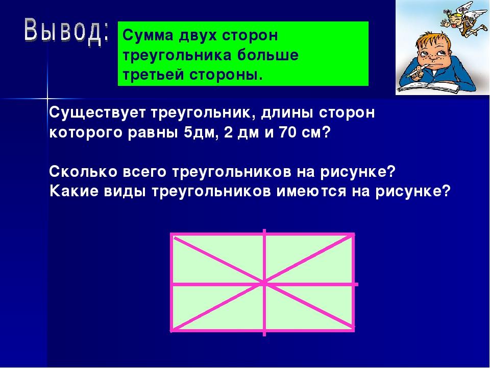 Существует треугольник, длины сторон которого равны 5дм, 2 дм и 70 см? Скольк...