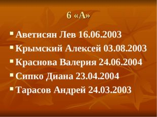 6 «А» Аветисян Лев 16.06.2003 Крымский Алексей 03.08.2003 Краснова Валерия 24