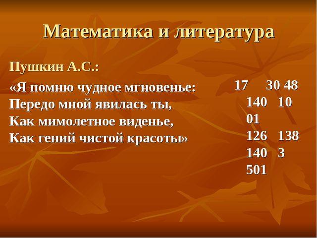 Математика и литература Пушкин А.С.: «Я помню чудное мгновенье: Передо мной я...