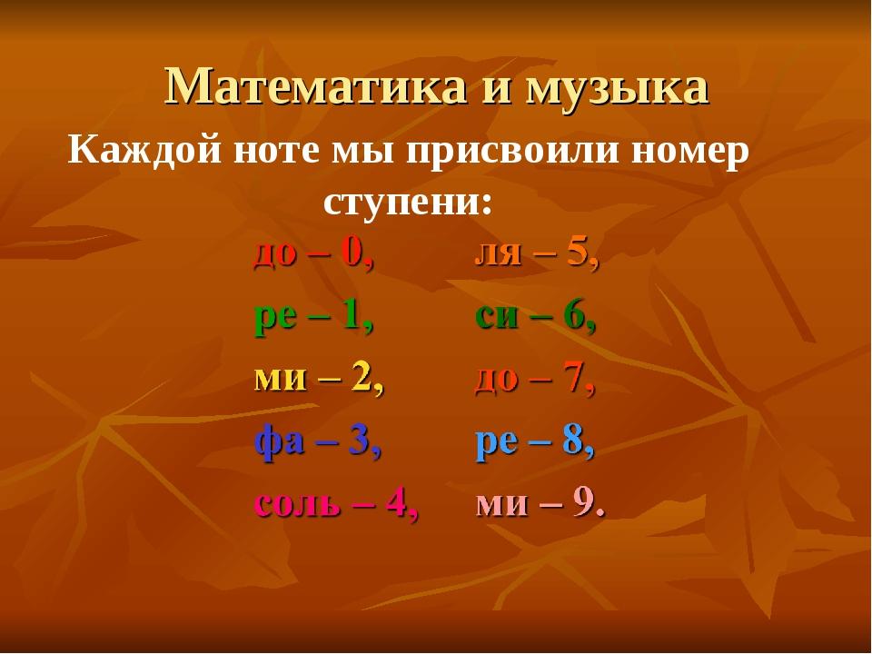 Математика и музыка Каждой ноте мы присвоили номер ступени: