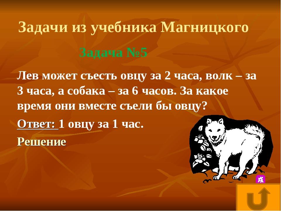 Задачи из учебника Магницкого Лев может съесть овцу за 2 часа, волк – за 3 ча...