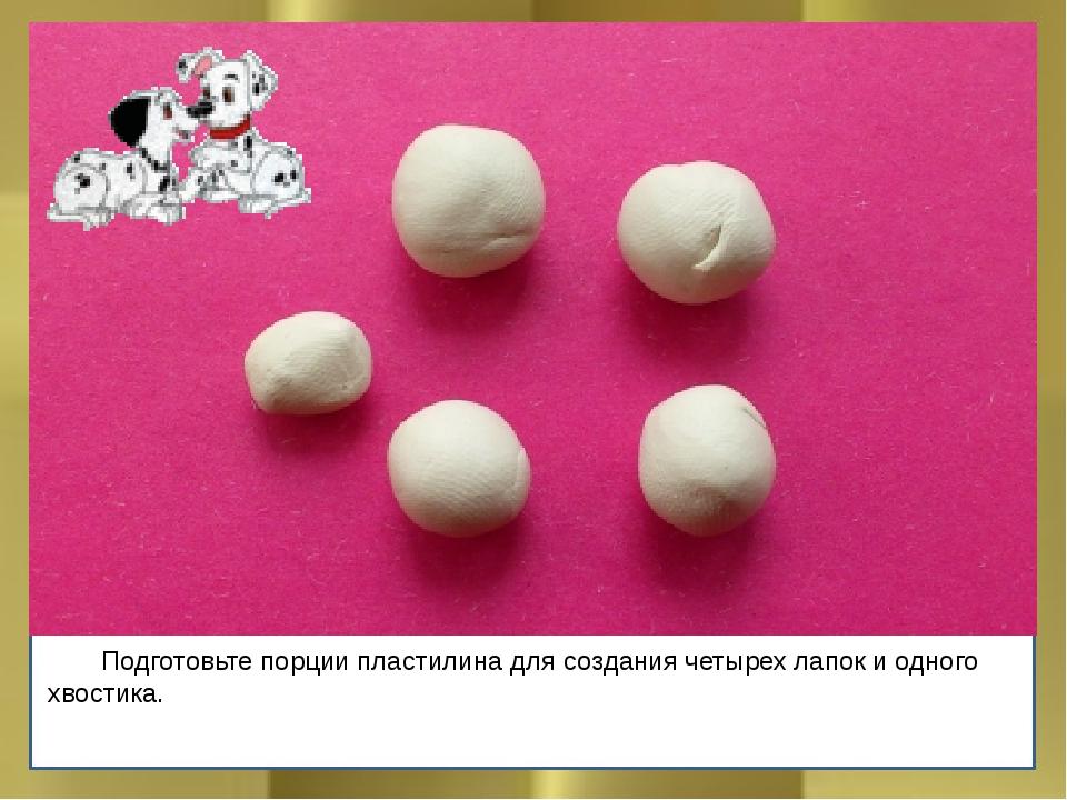 Подготовьте порции пластилина для создания четырех лапок и одного хвостика.