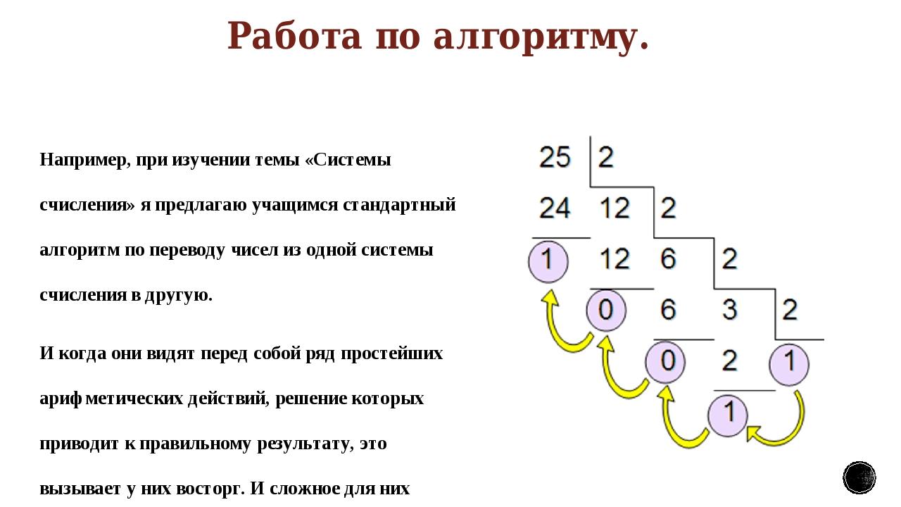 Работа по алгоритму. Например, при изучении темы «Системы счисления» я предла...
