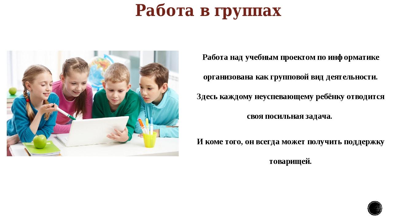Работа в группах Работа над учебным проектом по информатике организована как...