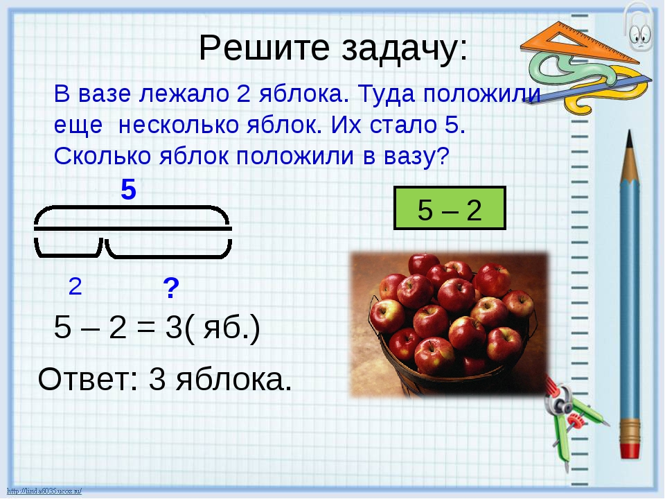 Решите задачу: В вазе лежало 2 яблока. Туда положили еще несколько яблок. Их...