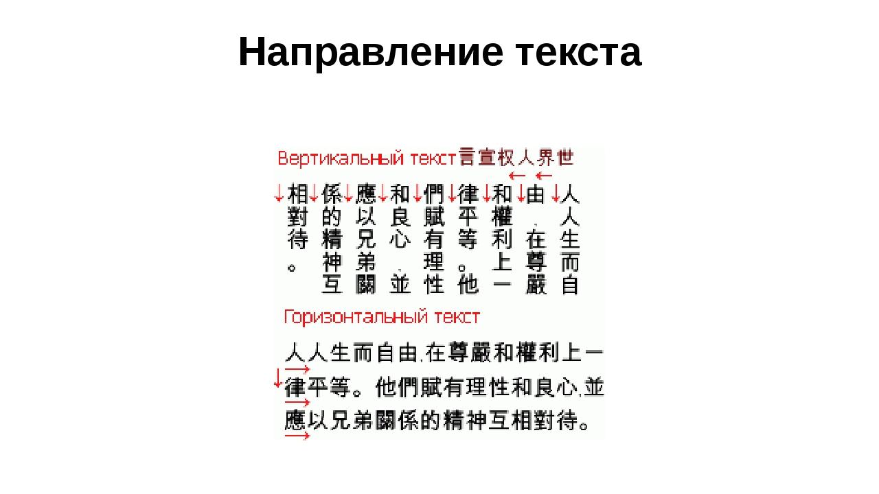 Направление текста