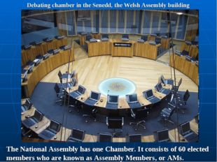 Debating chamber in the Senedd, the Welsh Assembly building The National Asse