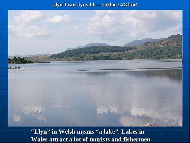 """Llyn Trawsfynydd — surface 4.8 km² """"Llyn"""" in Welsh means """"a lake"""". Lakes in W..."""