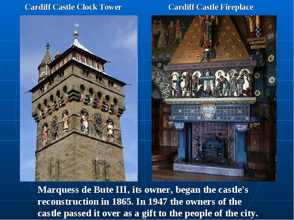 Cardiff Castle Clock Tower Cardiff Castle Fireplace Marquess de Bute III, its...