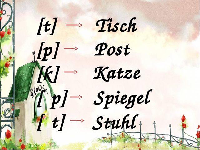[t] [p] [k] [ʃp] [ʃt] Tisch Post Katze Spiegel Stuhl