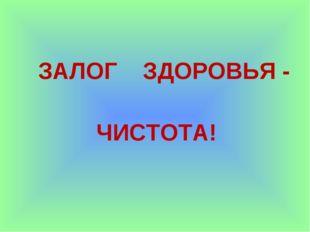 ЗАЛОГ ЗДОРОВЬЯ - ЧИСТОТА!