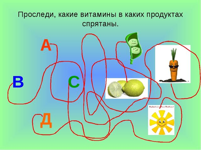 Проследи, какие витамины в каких продуктах спрятаны. А В С Д