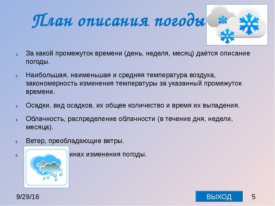 План описания погоды За какой промежуток времени (день, неделя, месяц) даётся...