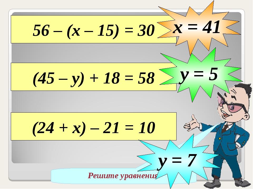 Решите уравнения 56 – (х – 15) = 30 х = 41 (45 – у) + 18 = 58 у = 5 (24 + х)...