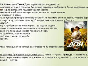 В романе М,А. Шолохова «Тихий Дон» герои говорят на диалекте: Григорий, посап