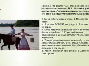 Понимая, что диалектные, слова не всем носителям русского языка нонятны, М.А.