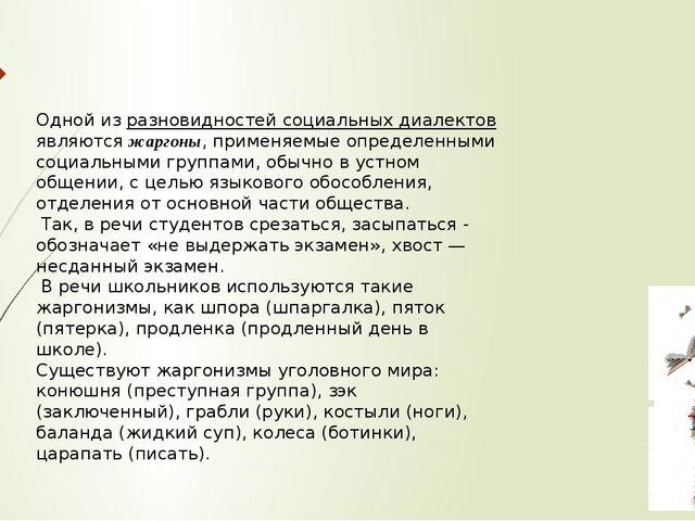 Одной из разновидностей социальных диалектов являютсяжаргоны, применяемые оп...