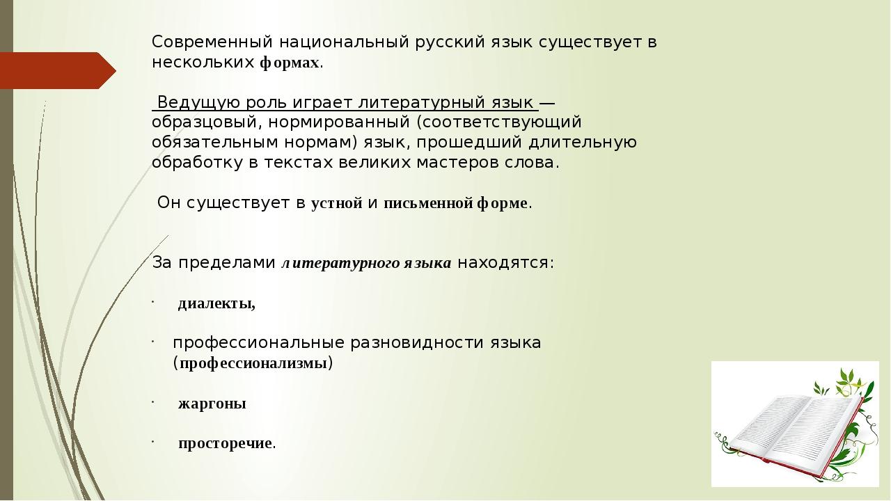 Современный национальный русский язык существует в нескольких формах. Ведущую...