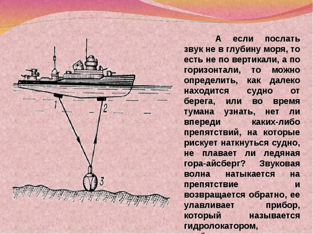А если послать звук не в глубину моря, то есть не по вертикали, а по горизон...