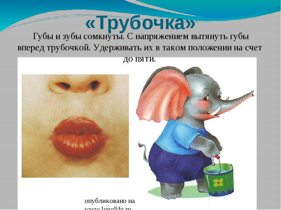 «Трубочка» Губы и зубы сомкнуты. С напряжением вытянуть губы вперед трубочкой...