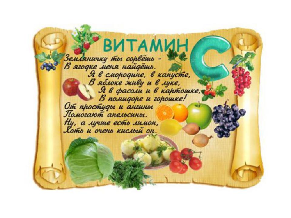 Витамины в картинках для детей, днем