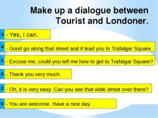 Make up a dialogue between Tourist and Londoner. - Yes, I can. - Excuse me, c