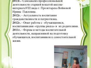 Выступления на педсоветах и методических объединениях 2013г.- Самоанализ проф
