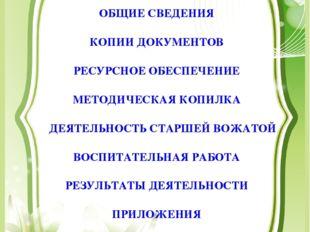 ОБЩИЕ СВЕДЕНИЯ КОПИИ ДОКУМЕНТОВ РЕСУРСНОЕ ОБЕСПЕЧЕНИЕ МЕТОДИЧЕСКАЯ КОПИЛКА ДЕ