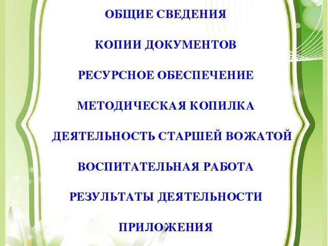 ОБЩИЕ СВЕДЕНИЯ КОПИИ ДОКУМЕНТОВ РЕСУРСНОЕ ОБЕСПЕЧЕНИЕ МЕТОДИЧЕСКАЯ КОПИЛКА ДЕ...