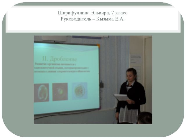 Шарифуллина Эльвира, 7 класс Руководитель – Кызыма Е.А.