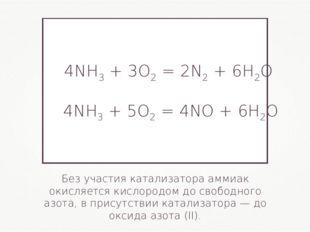 Без участия катализатора аммиак окисляется кислородом до свободного азота, в