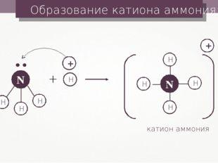 Образование катиона аммония H H H + H H + + катион аммония
