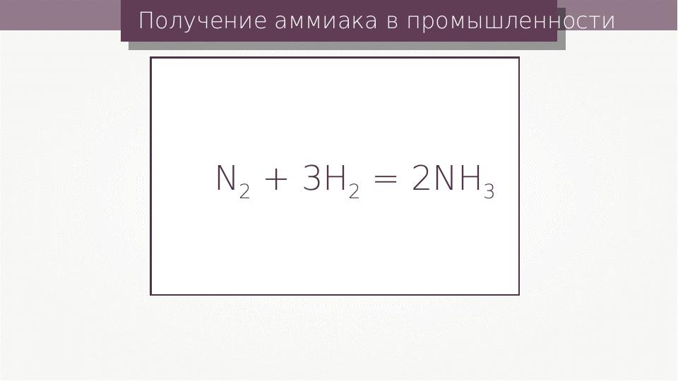 Получение аммиака в промышленности N2 + 3H2 = 2NH3